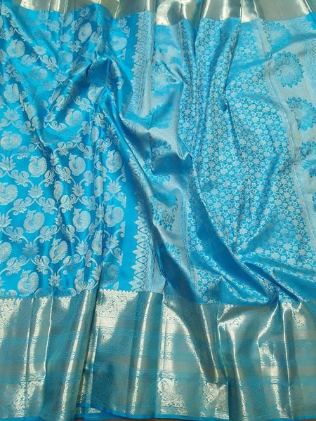 Kanjivaram Silk Saree in CornflowerBlue - Saree - FashionVibes