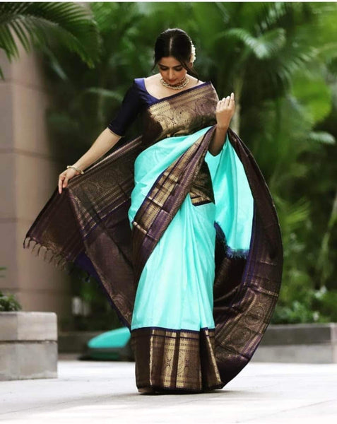 Kanjivaram Silk Saree in Cyan - Saree - FashionVibes