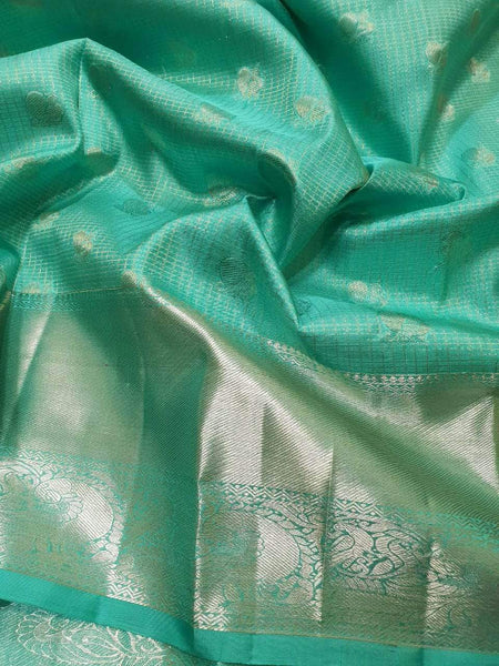 Kanjivaram Silk Saree in DarkTurquoise - Saree - FashionVibes