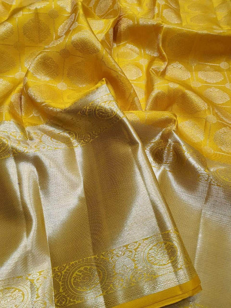 Kanjivaram Silk Saree in Gold - Saree - FashionVibes