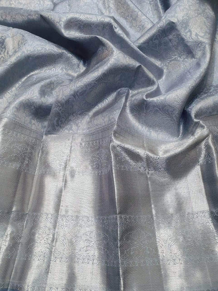 Kanjivaram Silk Saree in Grey - Saree - FashionVibes