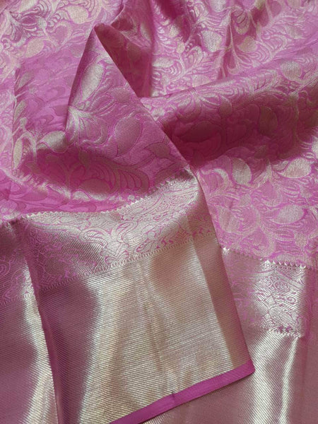 Kanjivaram Silk Saree in HotPink - Saree - FashionVibes