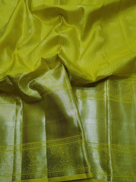Kanjivaram Silk Saree in Lime - Saree - FashionVibes