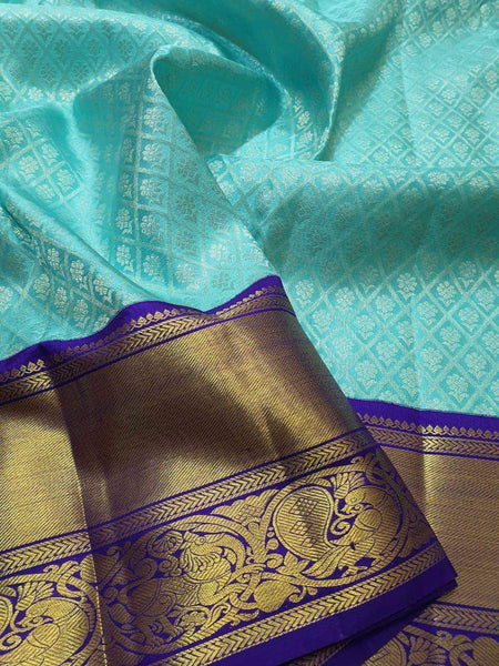 Kanjivaram Silk Saree in MediumAquaMarine - Saree - FashionVibes