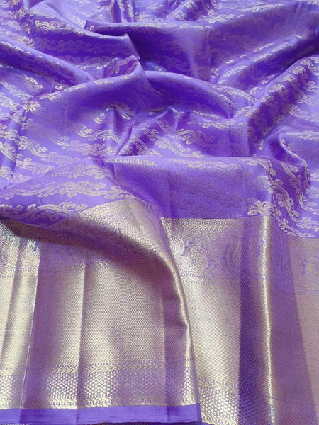 Kanjivaram Silk Saree in MediumSlateBlue - Saree - FashionVibes