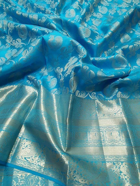 Kanjivaram Silk Saree in SteelBlue - Saree - FashionVibes