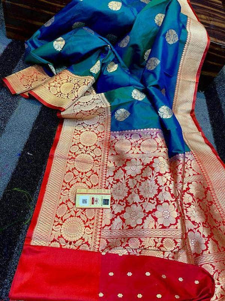 Katan Silk Saree with Antique Zari Work in Blue and Red - Saree - FashionVibes