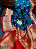 Katan Silk Saree with Antique Zari Work in Red and Blue - Saree - FashionVibes