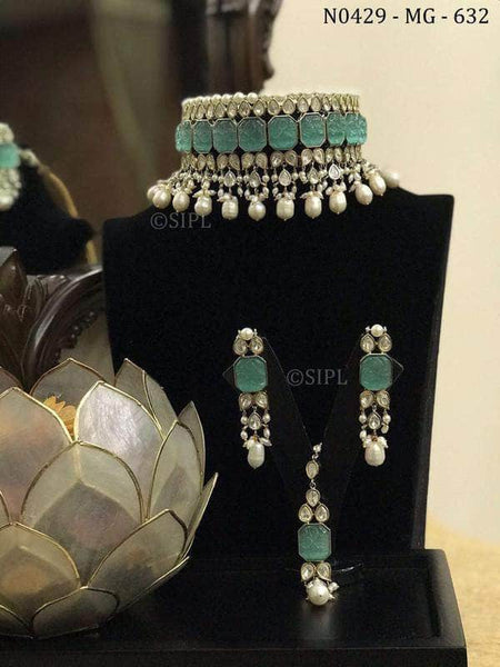 Kundan and Stone Jewlery set in Green - Jewelry - FashionVibes