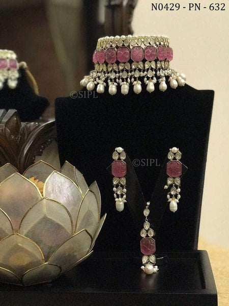 Kundan and Stone Jewlery set in Pink - Jewelry - FashionVibes