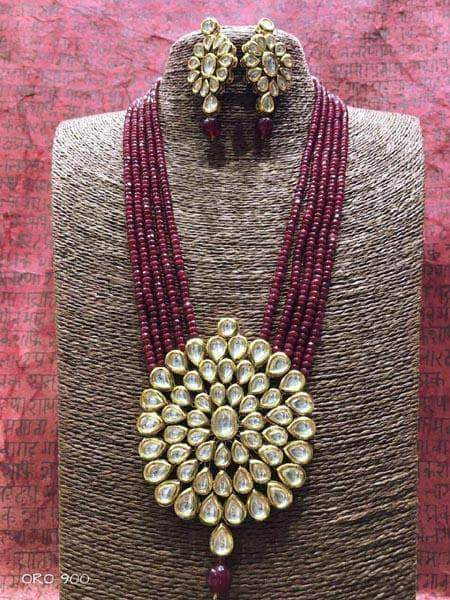 Kundan Necklace Set in Maroon - Jewelry - FashionVibes