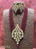 Kundan Necklace Set in Moroon and Golden - Jewelry - FashionVibes