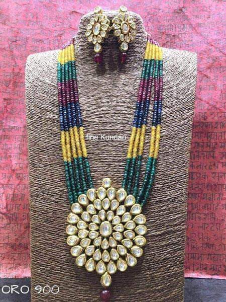 Kundan Necklace Set in Multicolor - Jewelry - FashionVibes