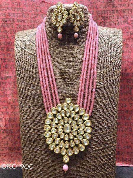 Kundan Necklace Set in Pink - Jewelry - FashionVibes