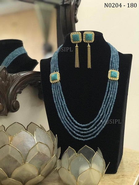 Long Mala Set with Semi-precious Stone in Blue - Jewelry - FashionVibes