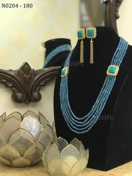 Long Mala Set with Semi-precious Stone in - Jewelry - FashionVibes