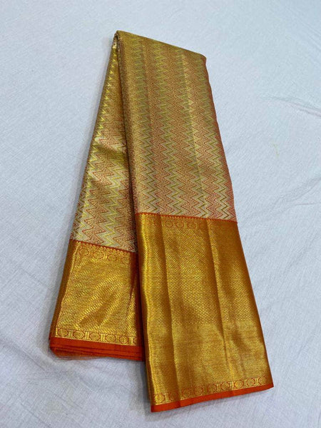 Mesmerising Kanjivaram Silk Saree in Brown - Saree - FashionVibes
