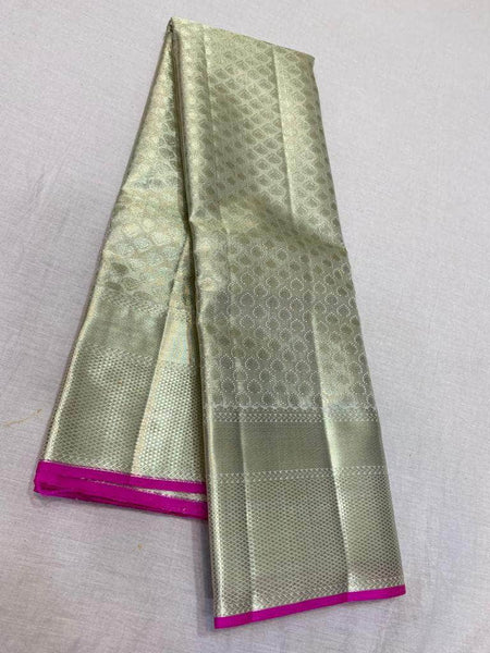 Mesmerising Kanjivaram Silk Saree in Grey - Saree - FashionVibes