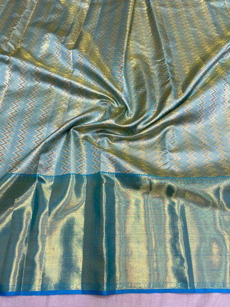 Mesmerising Kanjivaram Silk Saree in SkyBlue - Saree - FashionVibes