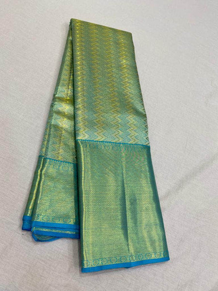 Mesmerising Kanjivaram Silk Saree in SpringGreen - Saree - FashionVibes