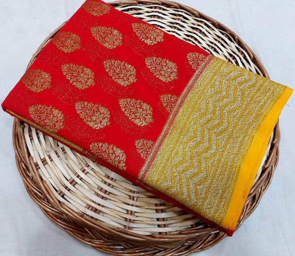 New Designer Pure Handloom Banarasi Khaddi Chiffon Georgette Silk Saree in Red and Yellow - Saree - FashionVibes