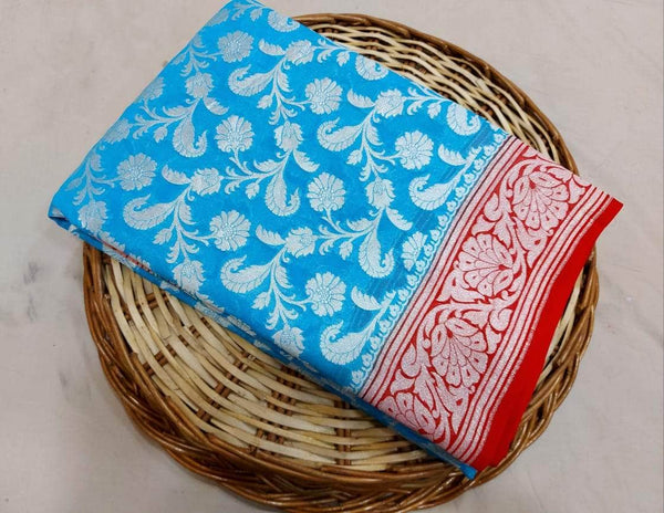 New Designer Pure Handloom Banarasi Khaddi Chiffon Georgette Silk Saree in SkyBlue - Saree - FashionVibes