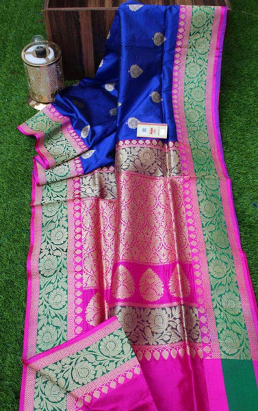 New Exclusive Banarasi Handloom Pure Khaddi Katan Silk Border Saree in Dark Blue - Saree - FashionVibes
