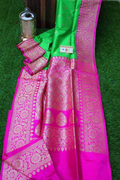 New Exclusive Banarasi Handloom Pure Khaddi Katan Silk Border Saree in Green - Saree - FashionVibes