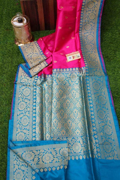 New Exclusive Banarasi Handloom Pure Khaddi Katan Silk Border Saree in Pink - Saree - FashionVibes