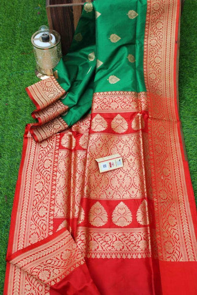 New Exclusive Banarasi Handloom Pure Khaddi Katan Silk Border Saree in - Saree - FashionVibes