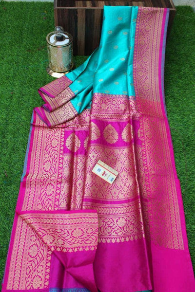 New Exclusive Banarasi Handloom Pure Khaddi Katan Silk Border Saree in Sea Green - Saree - FashionVibes