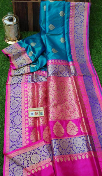 New Exclusive Banarasi Handloom Pure Khaddi Katan Silk Border Saree in Sky Blue - Saree - FashionVibes