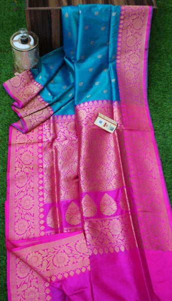 New Exclusive Banarasi Handloom Pure Khaddi Katan Silk Border Sarees in Blue - Saree - FashionVibes