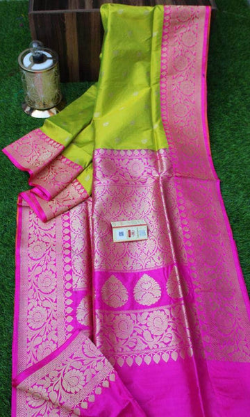 New Exclusive Banarasi Handloom Pure Khaddi Katan Silk Border Sarees in Green - Saree - FashionVibes