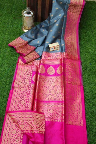 New Exclusive Banarasi Handloom Pure Khaddi Katan Silk Border Sarees in Grey - Saree - FashionVibes