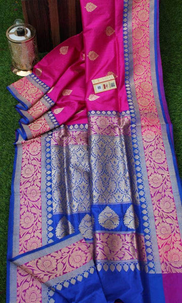 New Exclusive Banarasi Handloom Pure Khaddi Katan Silk Border Sarees in - Saree - FashionVibes
