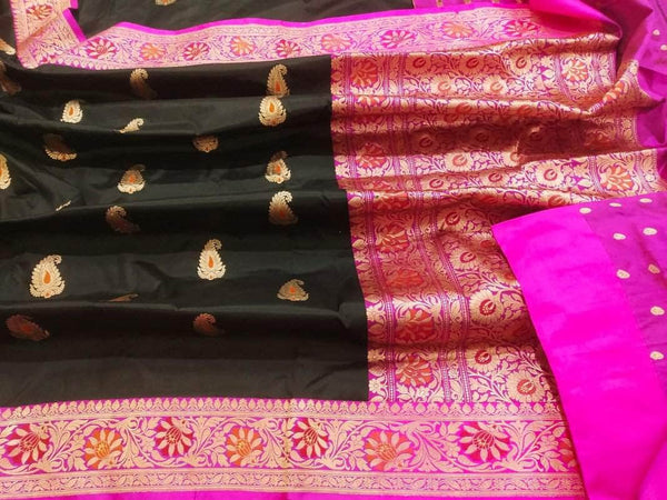 New Exclusive Pure Banarasi Handloom Khaddi Katan Silk Border Saree in Black - Saree - FashionVibes
