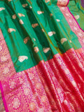 New Exclusive Pure Banarasi Handloom Khaddi Katan Silk Border Saree in Green - Saree - FashionVibes
