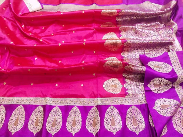 New Exclusive Pure Banarasi Handloom Khaddi Katan Silk Border Saree in Magenta - Saree - FashionVibes