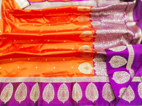 New Exclusive Pure Banarasi Handloom Khaddi Katan Silk Border Saree in Orange - Saree - FashionVibes