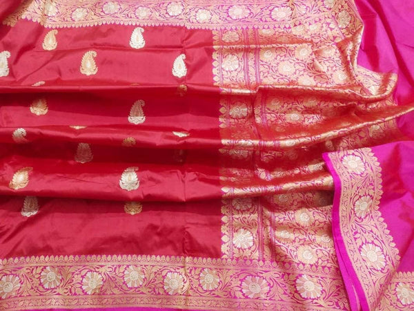 New Exclusive Pure Banarasi Handloom Khaddi Katan Silk Border Saree in Red - Saree - FashionVibes