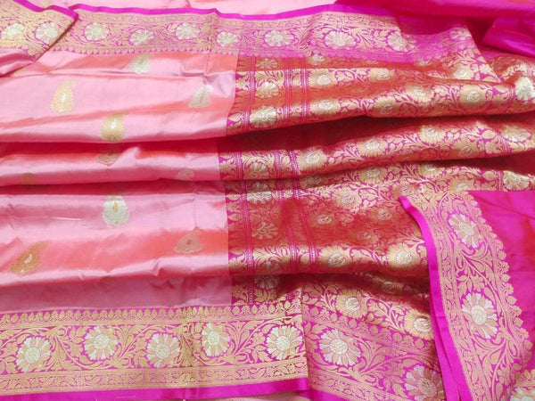 New Exclusive Pure Banarasi Handloom Khaddi Katan Silk Border Saree in Salmon - Saree - FashionVibes