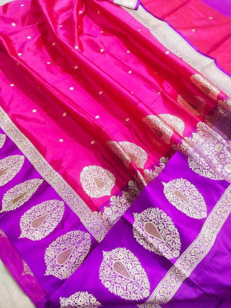 New Exclusive Pure Banarasi Handloom Khaddi Katan Silk Border Saree in - Saree - FashionVibes