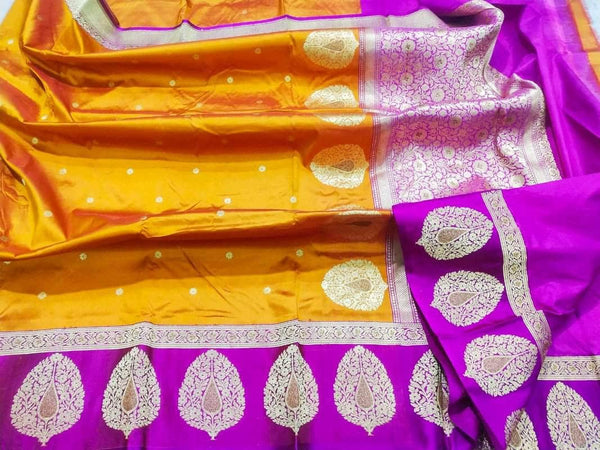 New Exclusive Pure Banarasi Handloom Khaddi Katan Silk Border Saree in Yellow - Saree - FashionVibes