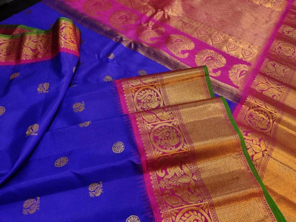 New Trendy Gadwal Pure Silk Saree in Blue - Saree - FashionVibes