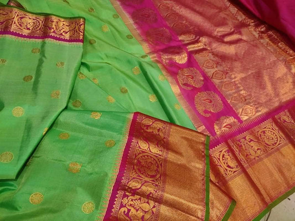 New Trendy Gadwal Pure Silk Saree in MediumSpringGreen - Saree - FashionVibes