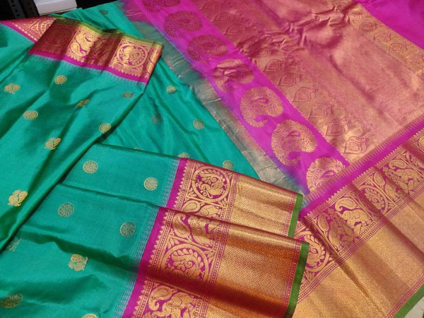New Trendy Gadwal Pure Silk Saree in MediumTurquoise - Saree - FashionVibes
