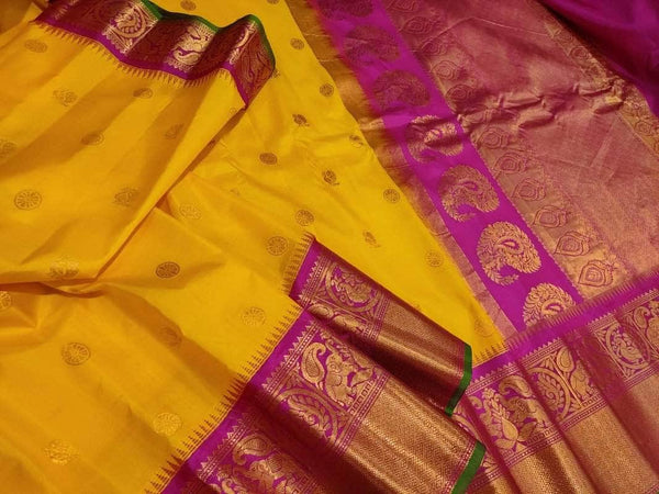 New Trendy Gadwal Pure Silk Saree in Yellow - Saree - FashionVibes
