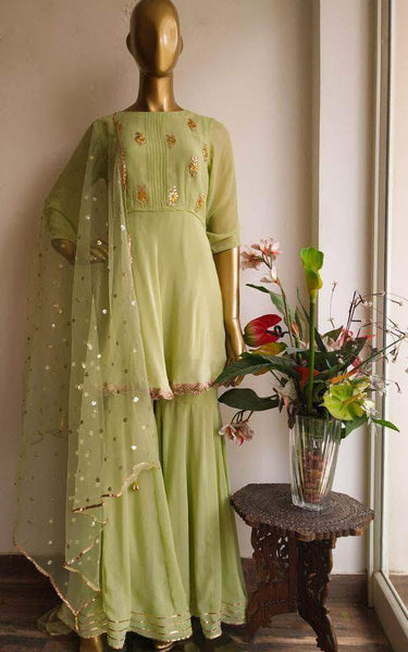 Peplum Style Gotta patti Sharara Suit in Green - Salwar Suit - FashionVibes