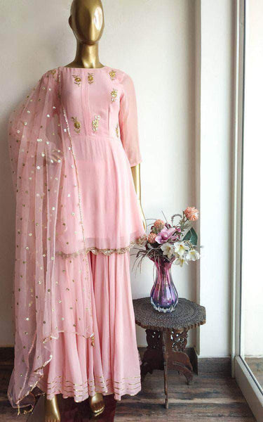 Peplum Style Gotta patti Sharara Suit in Pink - Salwar Suit - FashionVibes